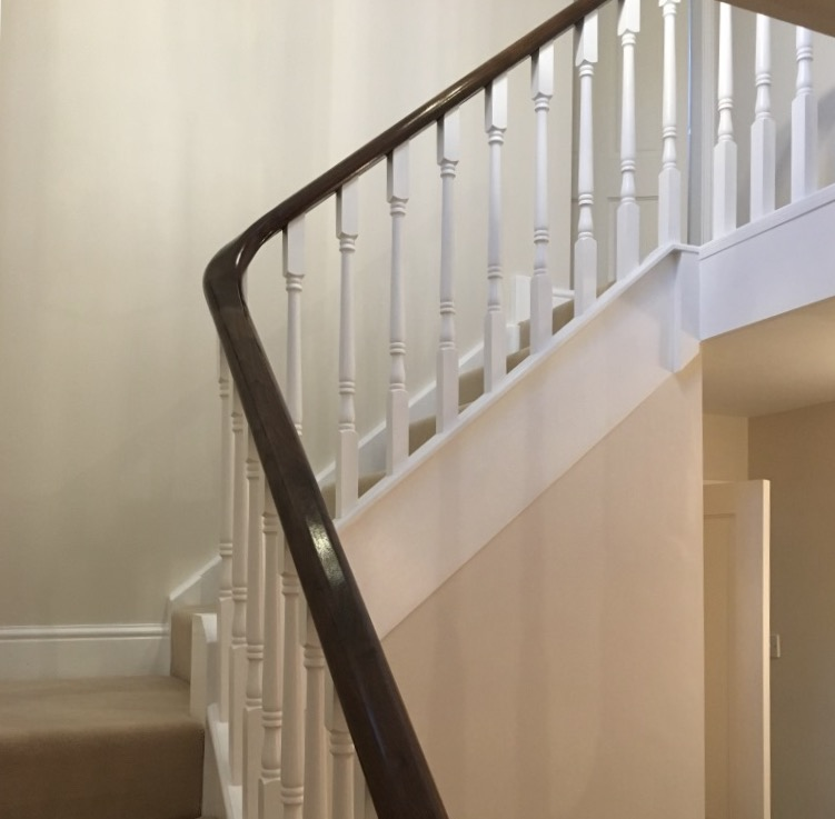walnut rail/painted spindles